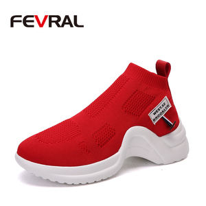 Image 1 - Fevral 女性カジュアルシューズファッション通気性エアーメッシュ快適黒、白、赤スニーカー高品質ファッションの女性の靴