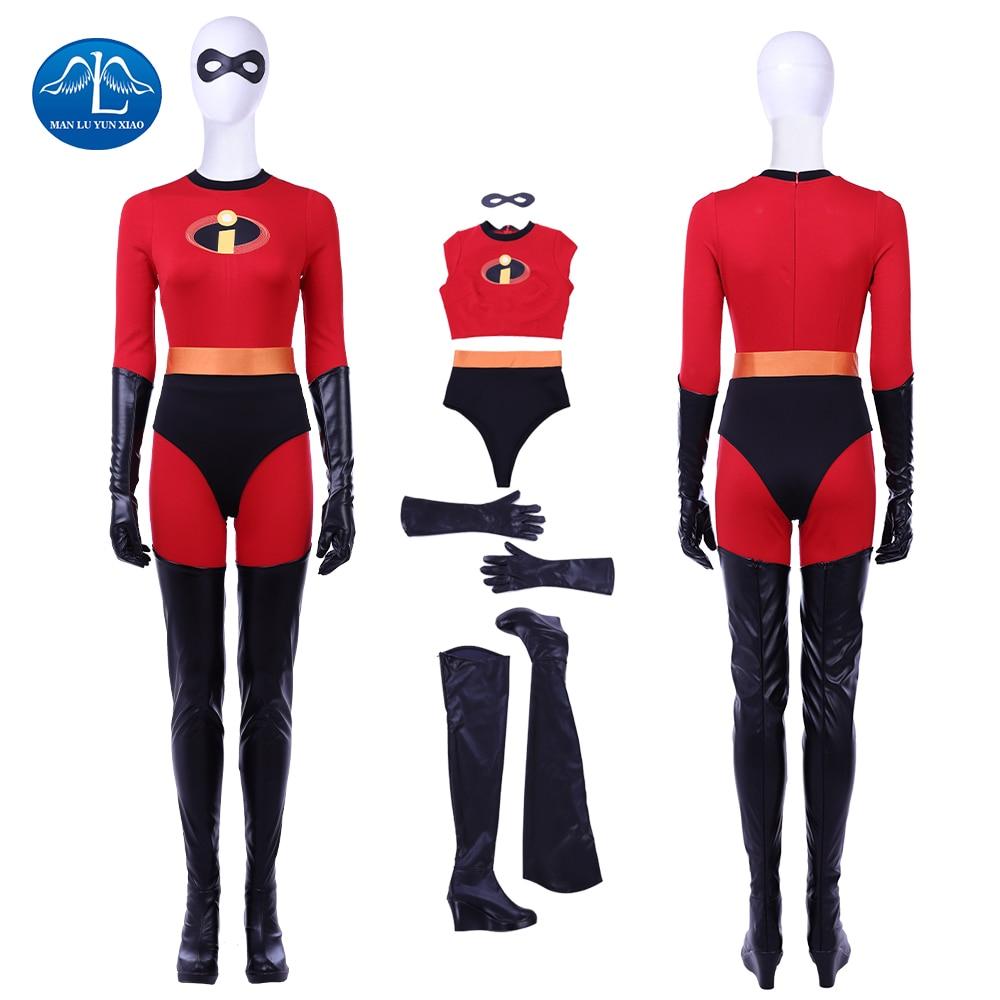 2018 New Cartoon The Incredibles 2 Cosplay Costume Elastigirl Helen Parr Costume Halloween Costumes For Women Custom Made