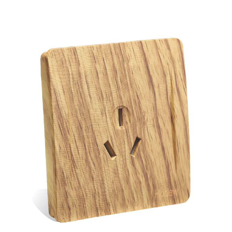Wood color Retro 3 Holes Air conditioning socket Wall Socket 86 style 16 A 110 <font><b>V</b></font>- <font><b>250</b></font> <font><b>V</b></font> image