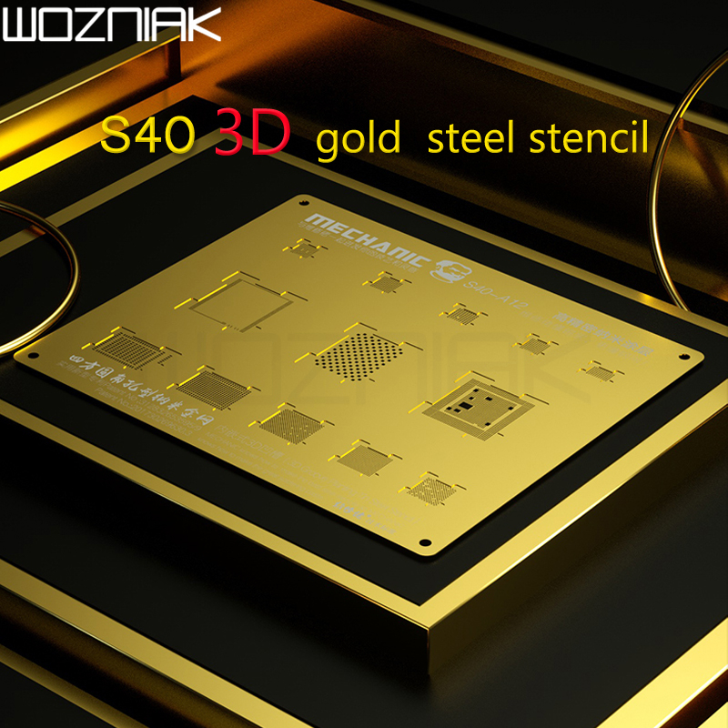 MECHANIC S40 3d Groove BGA Reballing Gold Stencil  CPU NAND Steel Net For IPhone A9/A10/A11/A12  CHIP IC Template