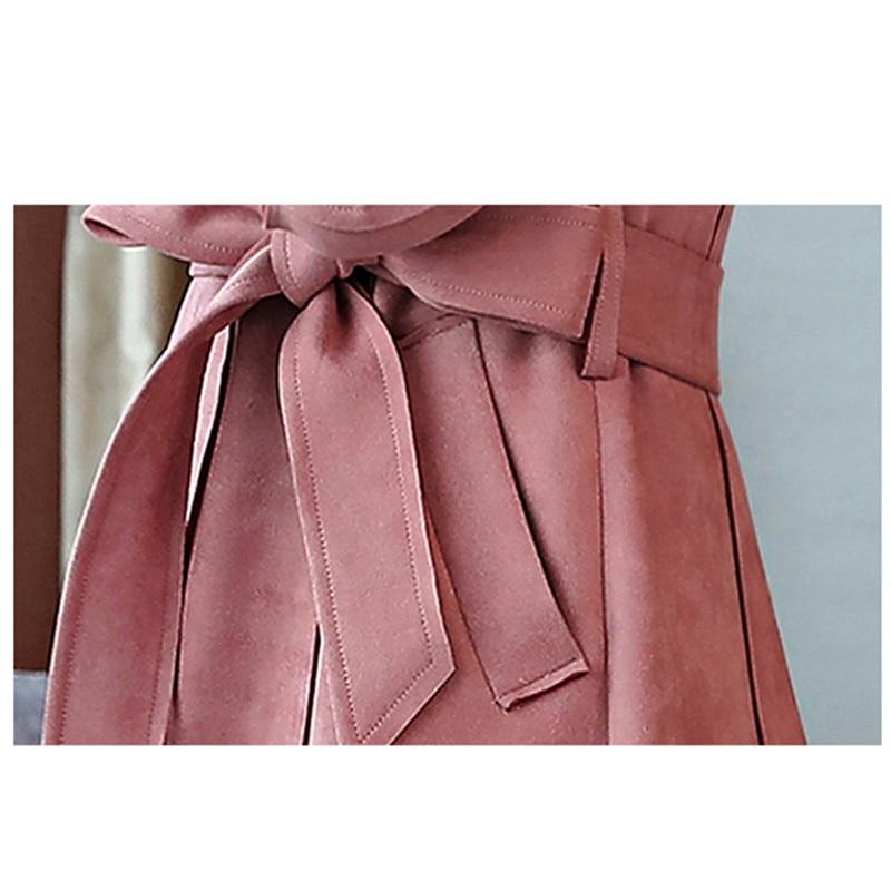 Couleur Mince Solide Automne Manteaux Élégant Manteau Cachemire Daim Gray 2019 La vent Coupe Printemps Plus Mode Tranchée Peau pink Taille Long De Casual Nouvelle qwZz66
