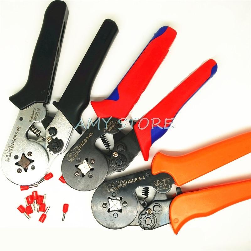 1 piezas 0,25-6mm2 23-10AWG herramienta que prensa Terminal cordón puntera para Crimper alicates Cable de Cable final mangas HSC8 6 -4 B