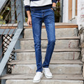 Men's Slim Fit Jeans Causal Zipped Button Cotton Trousers Scratch Straight Jeans for Men Blue Color 8029 Size 27-36