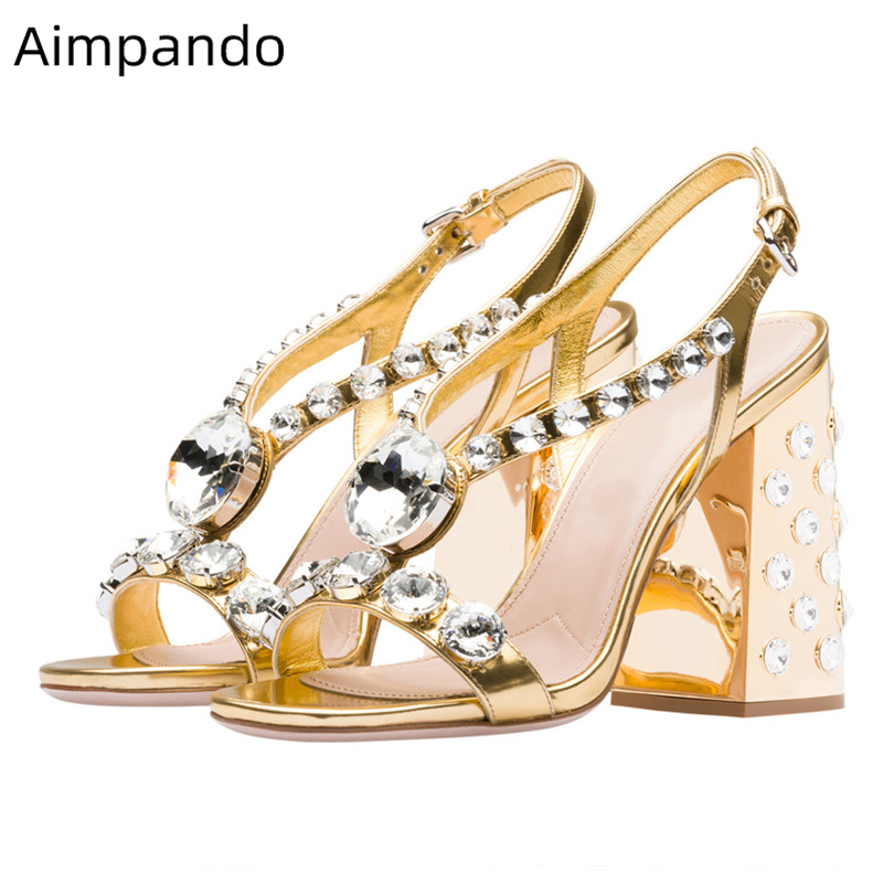 Sandales de luxe en cuir verni or diamant femmes bijoux talon Chunky bout ouvert cristal Strappy mode 2019 chaussures d'été femme