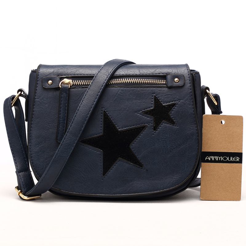 b2c68e25e Annmouler Women Shoulder Bag High Quality Leather Purse Star Patchwork  Messenger Bag Small Zipper Crossbody Bag for Ladies-in Shoulder Bags from  Luggage ...