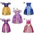 2016 New Girls Cinderella Dresses Children Snow White Princess Dresses Rapunzel Aurora Kids Party Halloween Costume Clothes k90