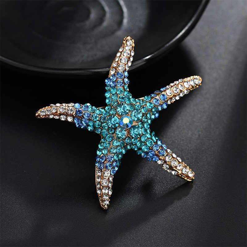 Merah Hijau Biru Kristal Berlian Imitasi Bintang Laut Bros untuk Wanita Aksesoris Pernikahan Fashion Laut Bintang Bros Pin Perhiasan Grosir