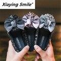 Детская обувь Xiaying Smile  кожаная обувь с бабочками на мягкой подошве в Корейском стиле для девочек  осень 2019  F-16