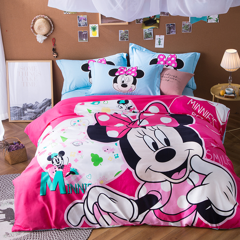 pink sweet minnie bedding set 100% cotton sanding comforter cover princess girl room decor 3d soft bed linens flat sheet Brushed