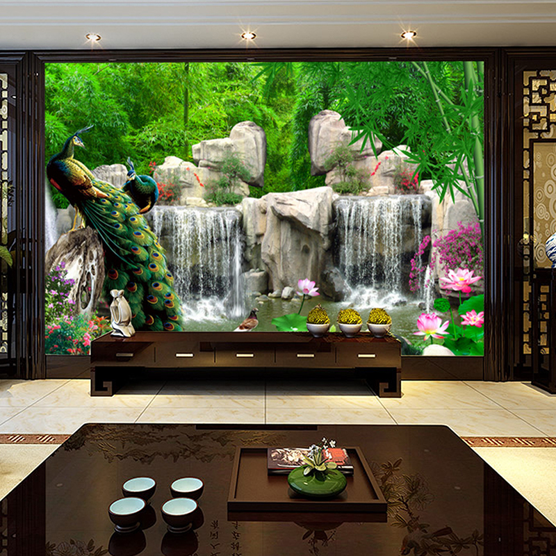 3D Stereoscopic Photo Wallpaper Landscape Painting Retro Bamboo Forest Peacock Mural Living Room TV Backdrop Wall Home Decor retro personality large world map mural wallpaper 3d painting living room bedroom wallpapers backdrop stereoscopic wall paper