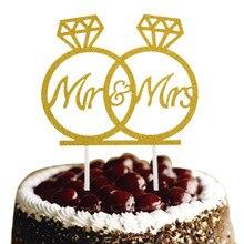 Diamond Ring Mr & Mrs Wedding Cake Topper Glittler Flags Engagement Party Baking Decor Bridal