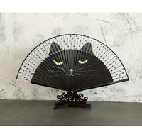Cartoon Hand Painted Cat Fan Japanese Bamboo Silk Folding Hand Held Fan Traditional Craft Chinese Decorative