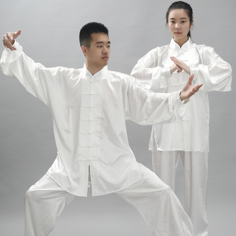 Traditional Rayon Kung Fu Uniform For Stage Long Sleeve Wushu Exercise Clothes South Korea Martial Arts Costume Tai Chi Clothing