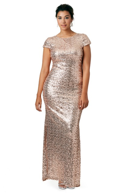 2016 Formal Champagne Gold Sequins Modest Plus Size Bridesmaid