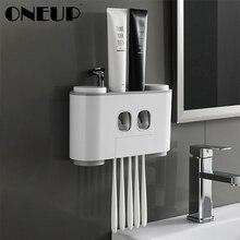 ONEUP автоматический диспенсер для зубной пасты пылезащитный держатель для зубных щеток с чашками без гвоздей настенная полка Набор аксессуаров для ванной комнаты