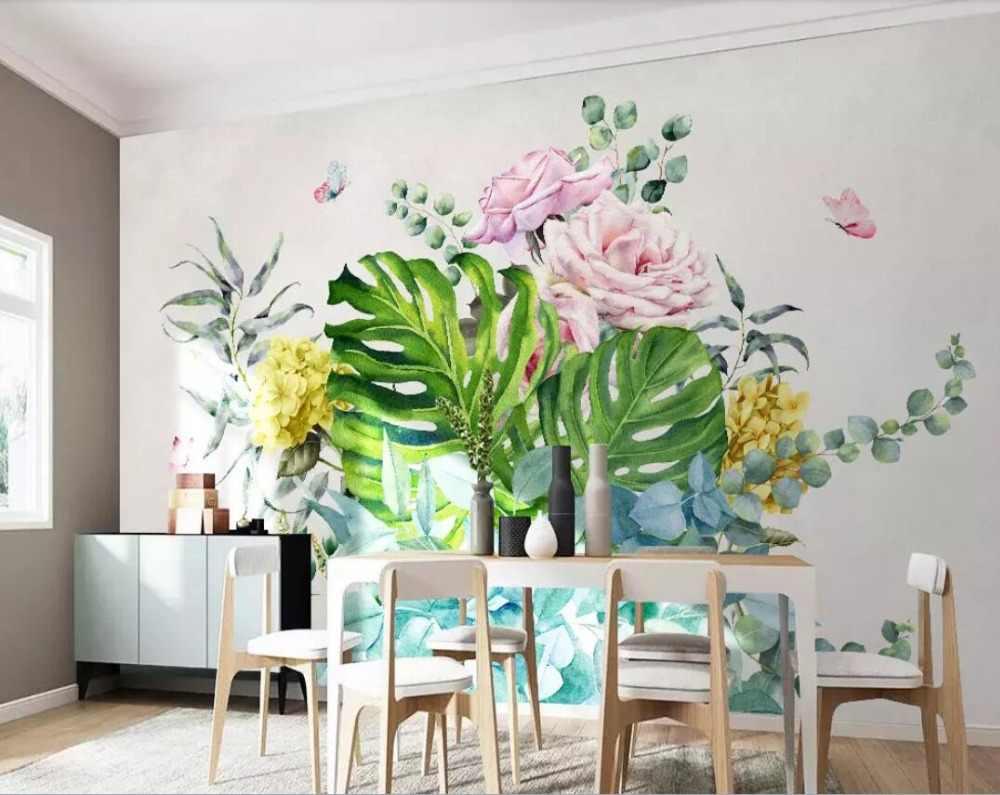 Art Moderne Petite Plante Verte Fraîche Fleurs Papillon Salon Fond Peinture Murale