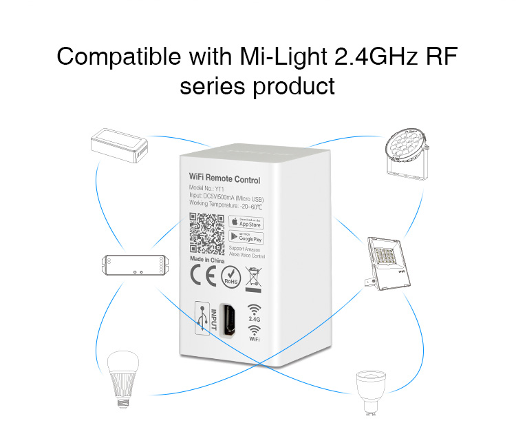 Image 3 - Milight YT1 Remote WIFI LED Controller Amazon Alexa Voice Control WiFi Wireless & Smartphone APP work with Mi.light 2.4G Series-in RGB Controlers from Lights & Lighting
