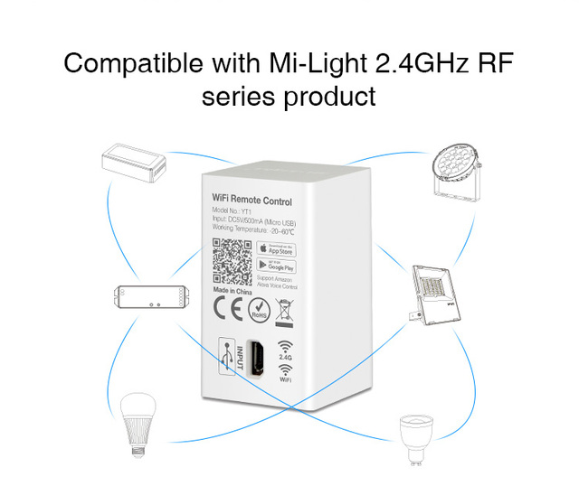 Milight YT1 Remote WIFI LED Controller Amazon Alexa Voice Control WiFi Wireless & Smartphone APP work with Mi.light 2.4G Series 2