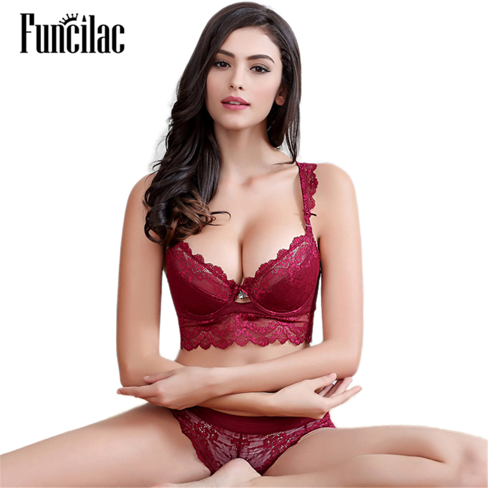 FUNCILAC Free shipping ultra-thin sexy transparent lace bra thin underwear comfortable breathable push up bra set