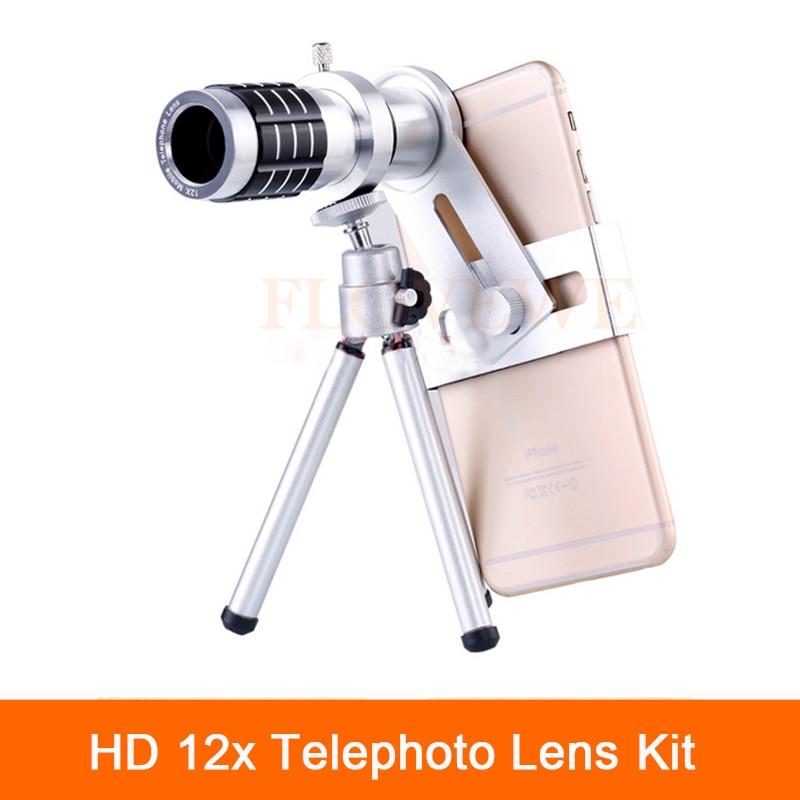 bilder für Universal Telefon Lentes Kit 12x Tele-objektiv Zoom Teleskop-kamera Clips mit Mobilen Stativ Für Handy Samsung s5 s6 s7 s8