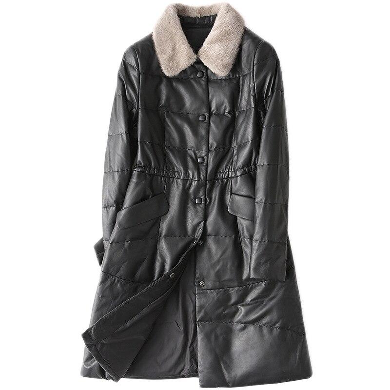 Slim 4xl Solide Fit Cuir Véritable Col De Veste Black Fourrure Manteau Vison Plus Mode En Dames Qualité Peau Vêtements Taille Mouton La Femme Haute nqIx86Bx