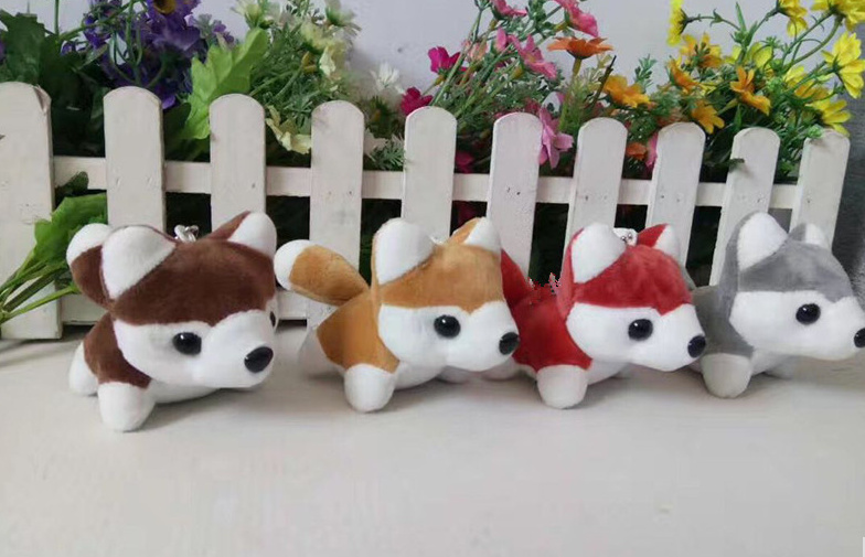24pcs lot 10CM Approx Husky Dog stuffed toys kawaii gift key chain Quality Dog Plush Toys