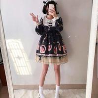 סתיו וחורף יפנית מתוקה ילדה סטודנט בחורה חמודה לוליטה יומי בסגנון מערבי שמלת אונליין פאף שרוול שמלת נסיכה
