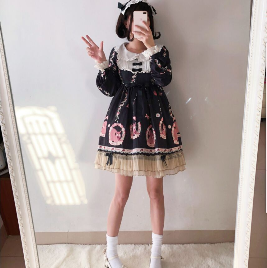 Autumn And Winter Japanese Sweet Girl Lolita Dress Western Style Daily Cute Girl Student A line Puff Sleeve Princess Dress