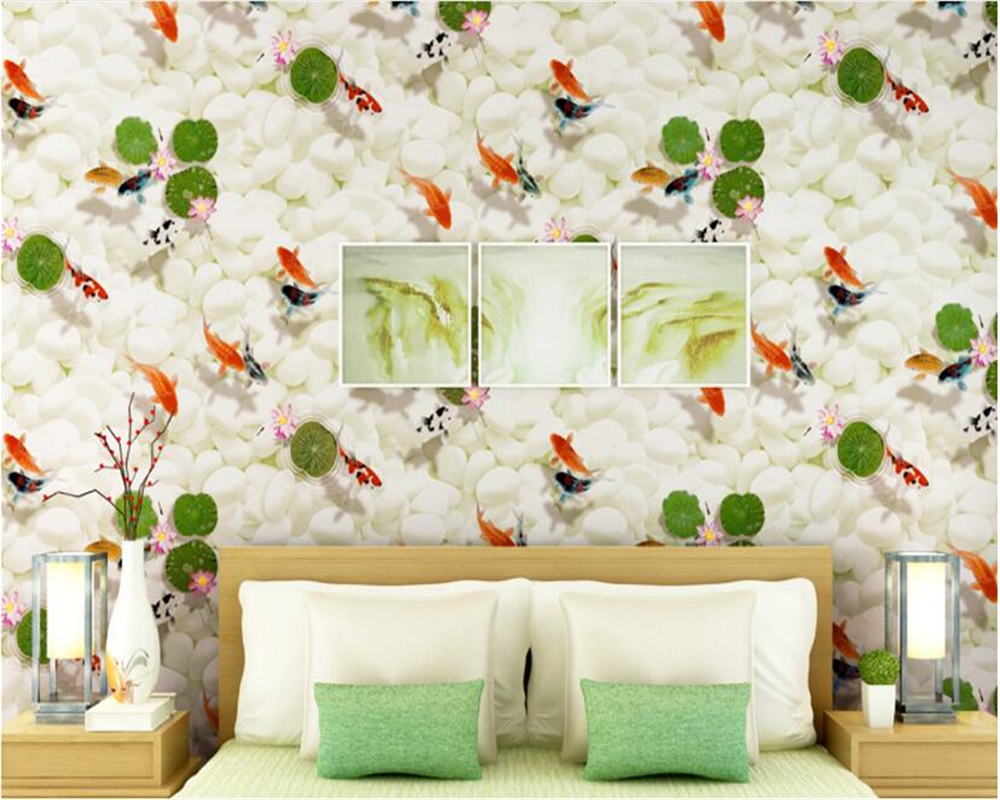 beibehang High-end non-woven 3d wallpaper goldfish pattern wallpaper bedroom living room study background wall papel de parede beibehang mediterranean blue striped 3d wallpaper non woven bedroom pink living room background wall papel de parede wall paper