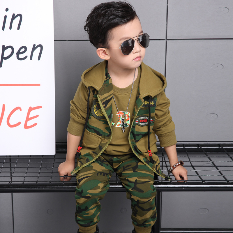 Kids Sport Suit 3-13 T Camouflage Toddler Boys Clothing Set 2017 Long Sleeve Shirt+ Vest + Pant 3pcs Autumn Children Clothes autumn boys clothing set baby boys 3pcs set outfits black jacket long sleeve t shirt denim long pant children clothes boys 4