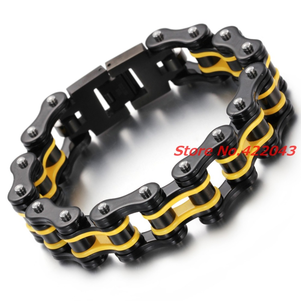 Top Quality Men's Motor Bike Chain Motorcycle Chain Bracelet Bangle 316L Stainless Steel Jewelry Yellow Black Design 17mm Bangle wing design chain bracelet