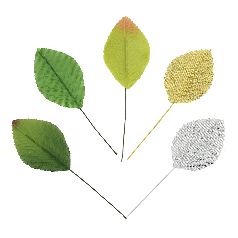 24pcs 4 6cm silk leaf green artificial leaves flower for for Artificial leaves for decoration