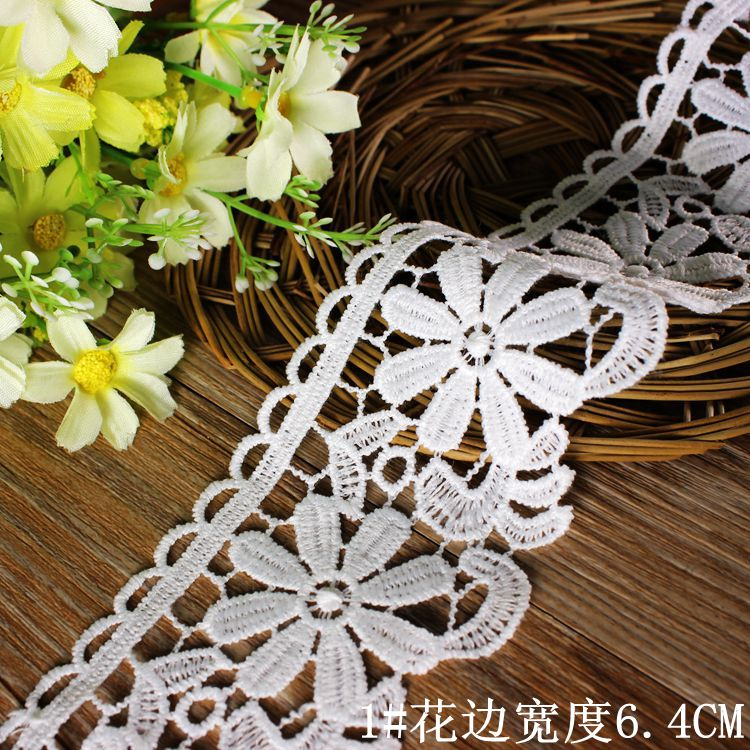 Wholesale 6.4cm 15yards/lot Milk Rayon Embroidered Lace Hollow Computer Flower Lace Crafts Sewing Accessories Z006