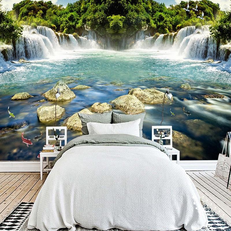 Custom Foto Wand Papier 3D Wasserfall Natur Landschaft Große Wandbilder Wand  Malerei Wohnzimmer Schlafzimmer Hintergrund Wandbild Tapete In Custom Foto  Wand ...