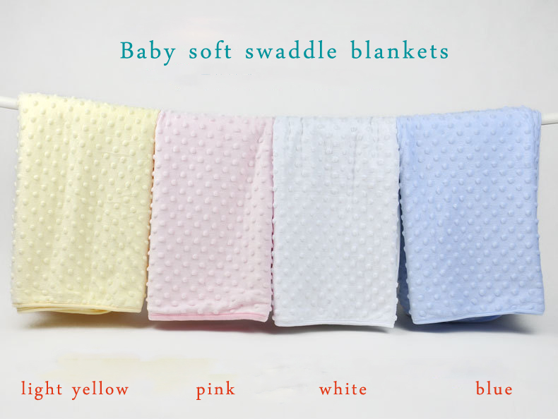 Super Soft 100 Cotton Baby Wrap Blanket Blue Pink Yellow
