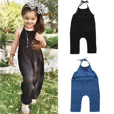 Children Kids Baby Girl Princess Casual Strap Denim Overalls Romper Jumpsuit Set