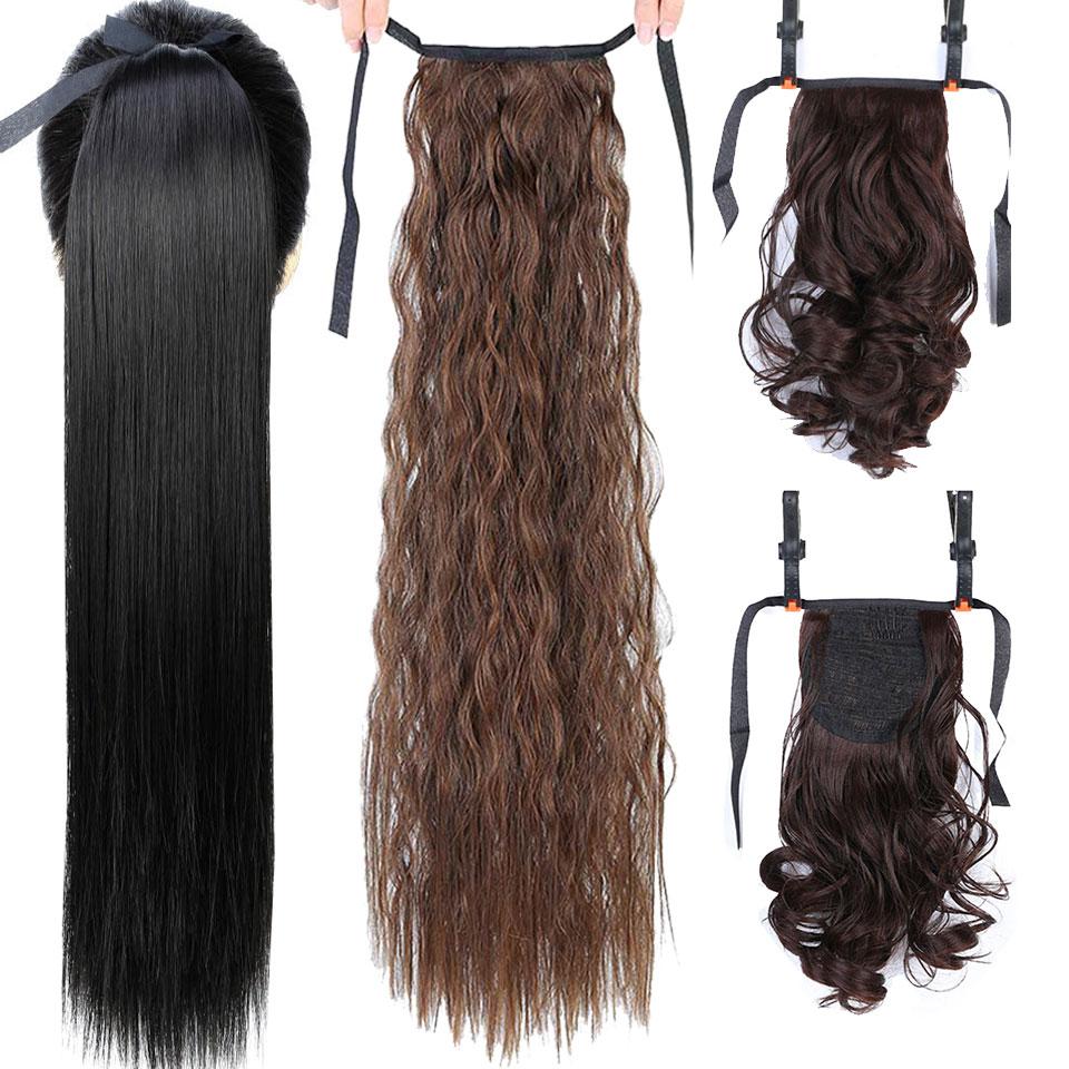 Длинные прямые накладные волосы JINKAILI на заколках, парик конского хвоста с заколками для волос, термостойкие синтетические волосы для наращ...