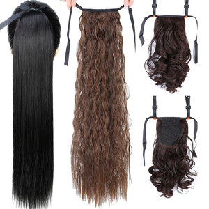 JINKAILI Long Straight Clip In Hair False Hair Ponytail Wig with Hairpins Hair Pony Tail Heat Resistant Synthetic Hair Extension(China)