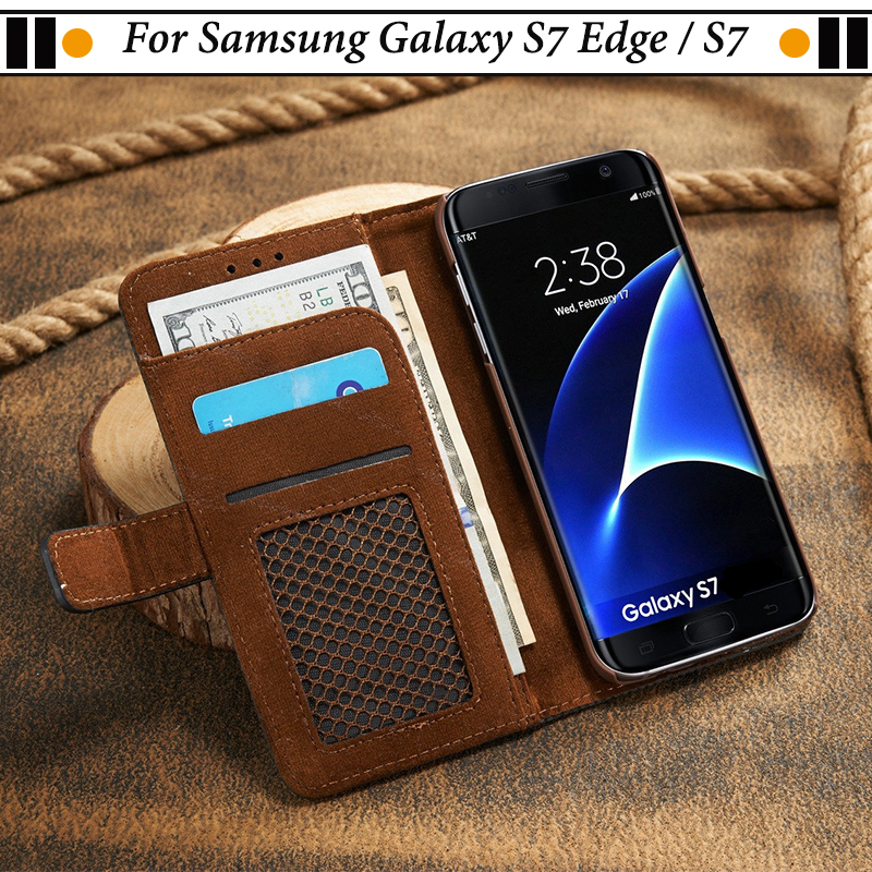 JURCHEN Case For Samsung Galaxy S7 Edge / S7 Case Wallet Mesh Style Leather Flip Cover For Samsung Galaxy S 7 S7Edge Case PC 31