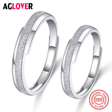2Pcs 925 Sterling Silver Couple Scrub Process Rings For Women Men Wedding Engagement Lovers Jewelry недорого