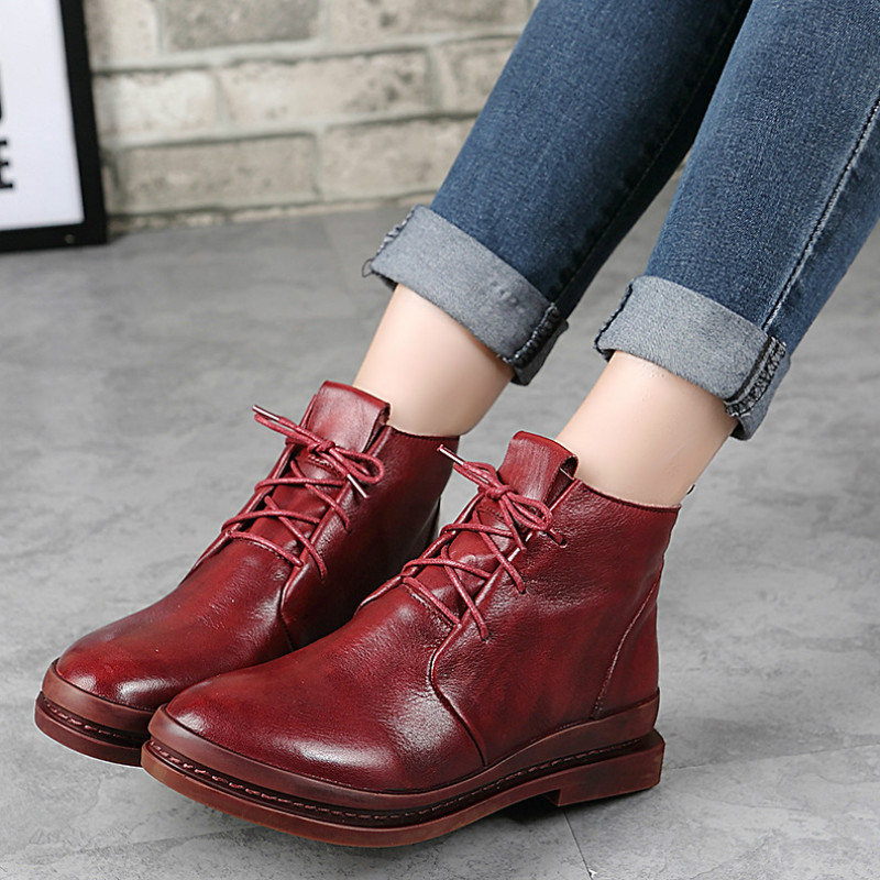 Women Ankle Boots Genuine Leather Low Heel Autumn Shoes For Women Leather Martin Boots Lace Up Retro Shoes Handmade Black Boots women martin boots 2017 autumn winter punk style shoes female genuine leather rivet retro black buckle motorcycle ankle booties