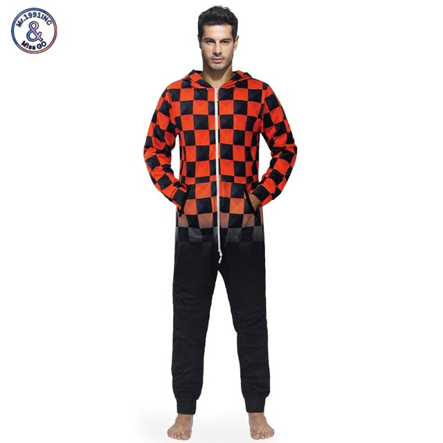 81ac3a14f93 Mr.1991INC 2018 Autumn Winter New Men Jumpsuit Long Sleeve One Piece Pants  Overalls Fashion Jumpsuit Trousers Print Red Plaid