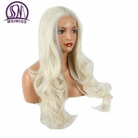 Msiwigsオンブルホワイト波状かつら女性のための利きかぎ針編み合成レースフロントかつらロングナチュラルフル髪無料ヘアネット