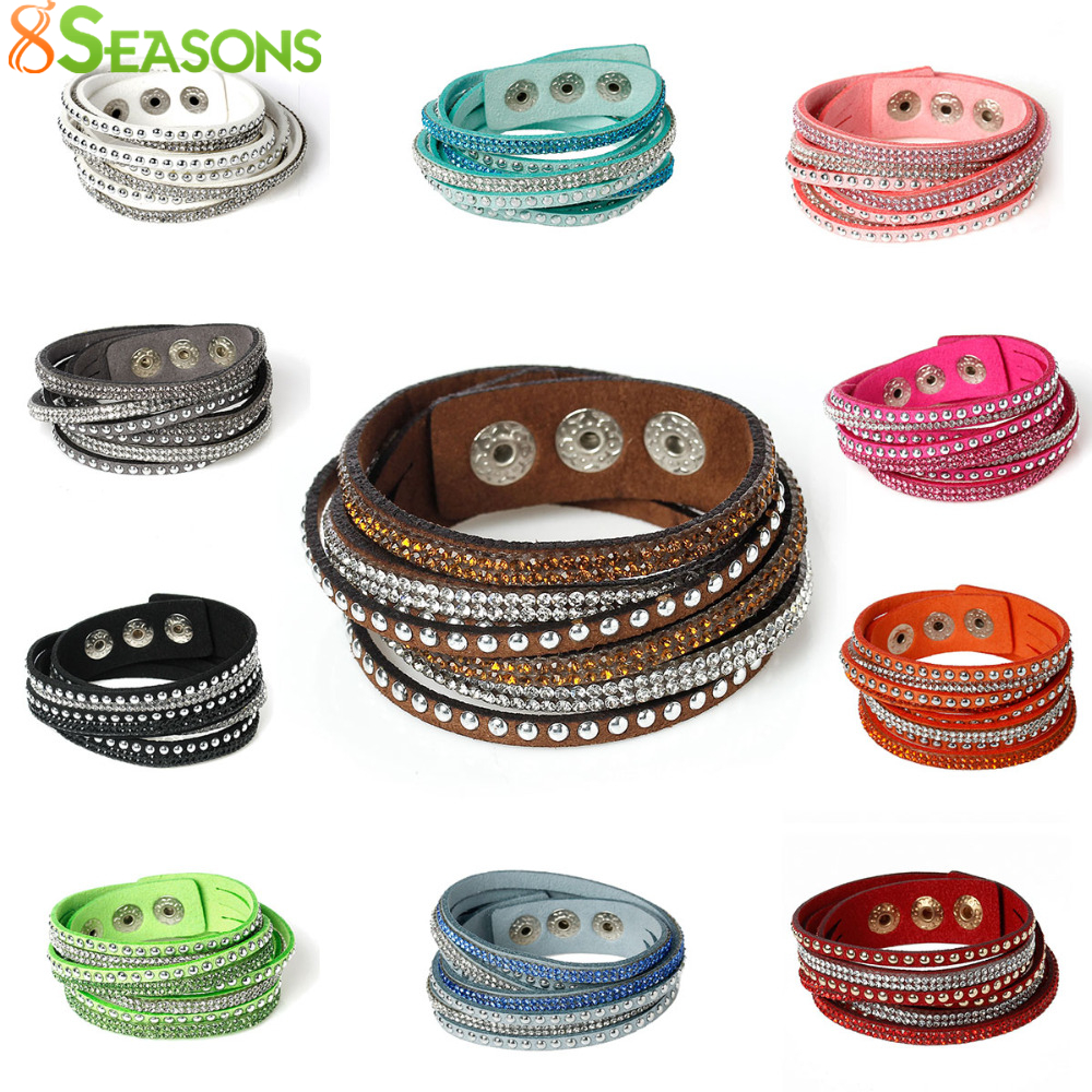 8 SEASONS Snap Jewelry Velvet Fashion Bracelets Suede Silver Tone Color Slake Leather Con Rhinestone Joyería Pareja 39.0cm de largo
