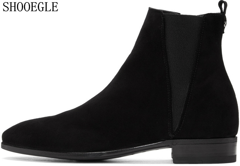 SHOOEGLE 2018 Men Autumn Winter Newest Chelsea Boots Black Suede and Leather British Vintage Style Western Street Ankle Boots mulinsen newest 2017 autumn winter men