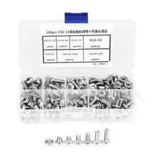140Pcs #10-32 304 Stainless Steel Screws PH Pan Head Assortment Kit Plastic Screw Set Fasteners tornillos para madera