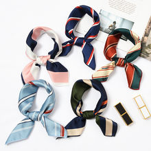 Square Scarf Hair Tie Band for Business Party Women Elegant Small Vintage Skinny Retro Head Neck Silk Satin Scarf(China)