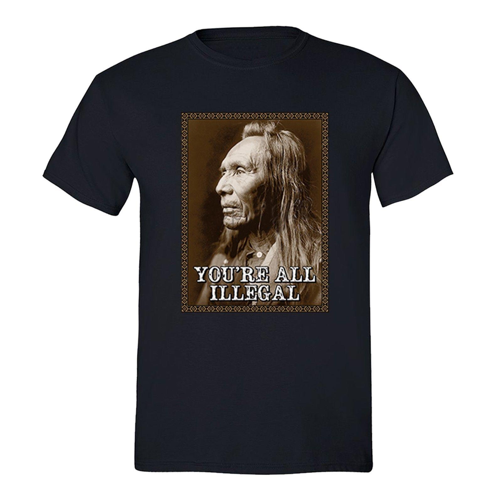 Ilegal en la lucha contra el terrorismo camiseta Nativo Americano bandera EE. UU Indian camiseta