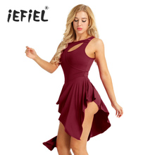 IEFiEL ホットバレエレオタード女性の大人バレリーナカットアウト体操レオタードダンスドレス水着のためのダンスパーティー衣装