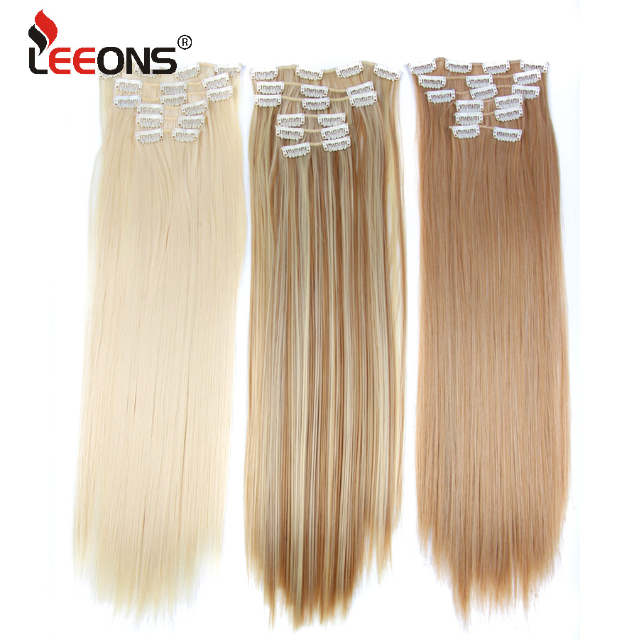 Leeons 22 Inch Hair Extension Clip Synthetic 16 Clip In Hair Extensions Natural Heat Resistant Fake Mega Hair Women Hairpieces
